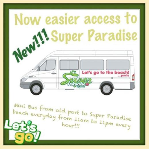 Super Paradise beach Mykonos minibus transfer service