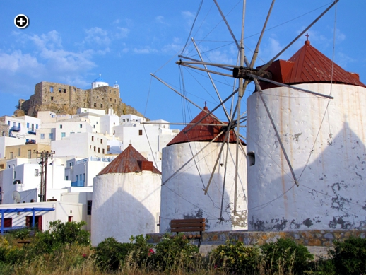 Windmills and the Venetian Castle at Chora on Astipalea island