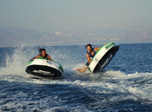 Tube ride at Punda beach on Paros