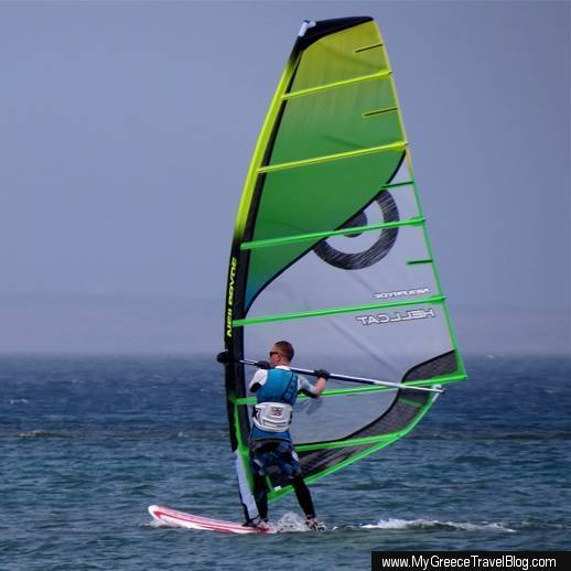 windsurfer at Agios Georgios Bay on Naxos