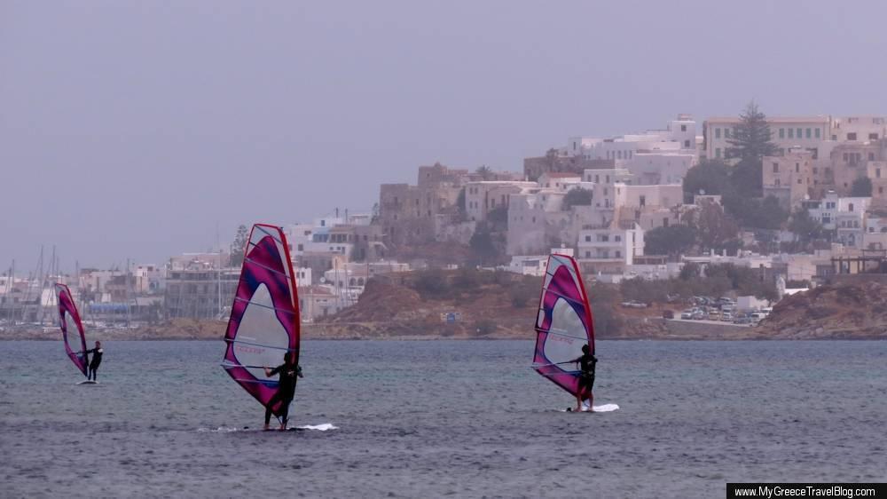windsurfers in Agios Georgios Bay near Naxos Town