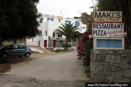 Makis Place Hotel and Molaraki restaurant on Mykonos