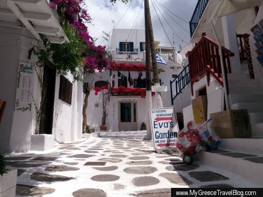 Eva's Garden restaurant and Lifeline Art Studios in Mykonos