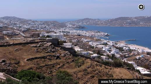 A view of Mykonos Town and the Mykonos Old Port area