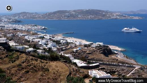 A view of Mykonos Town, the Mykonos Old Port area, and the island's Tagoo district