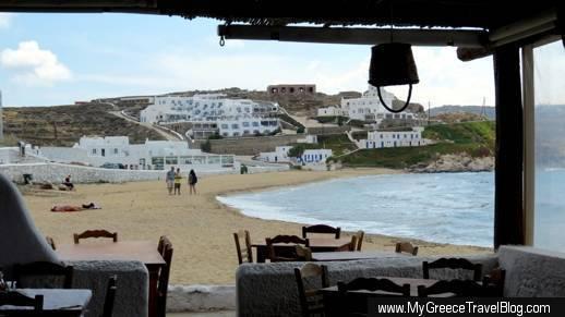 Megali Ammos beach Mykonos viewed from Joanna's Niko's Place