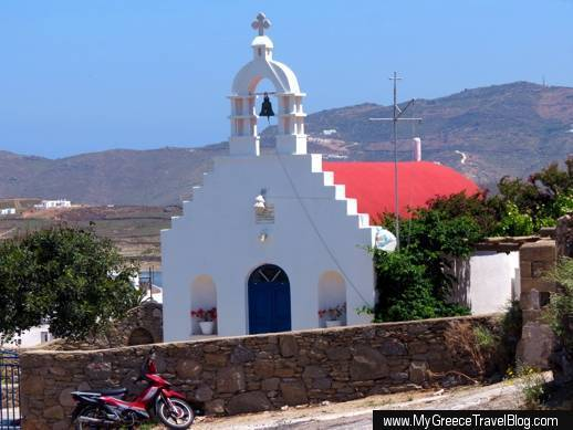 a red domed church in Mykonos