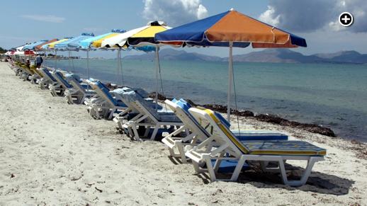 Sunbeds on a beach near the Tigaki resort area of Kos island