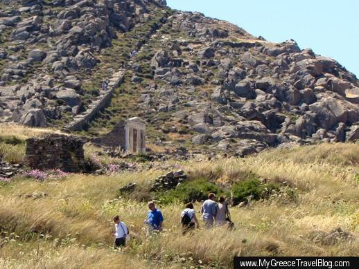 tourists near the Temple of Isis on Delos island