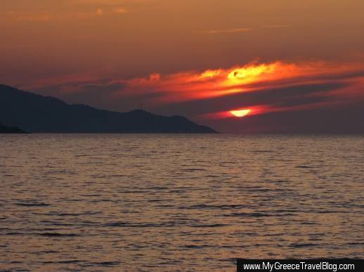 A sunset seen from Samos island Greece