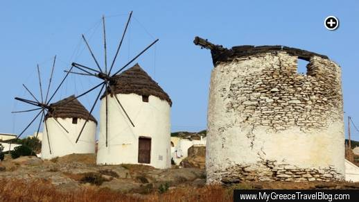 Three windmills on a hillside above Chora village on Ios