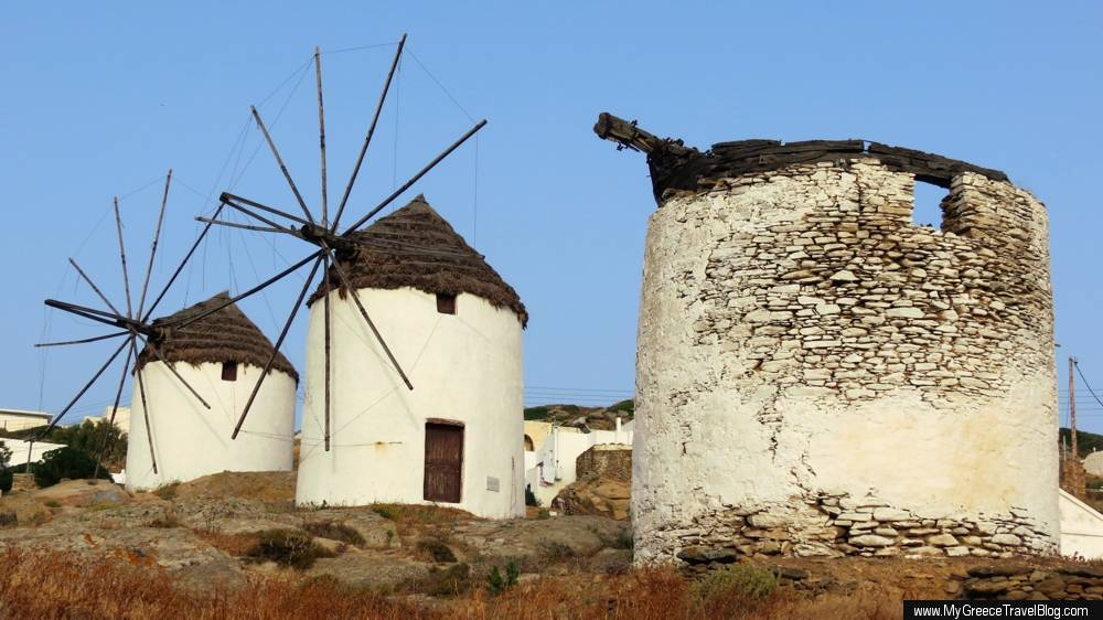 Windmills on Ios island Greece