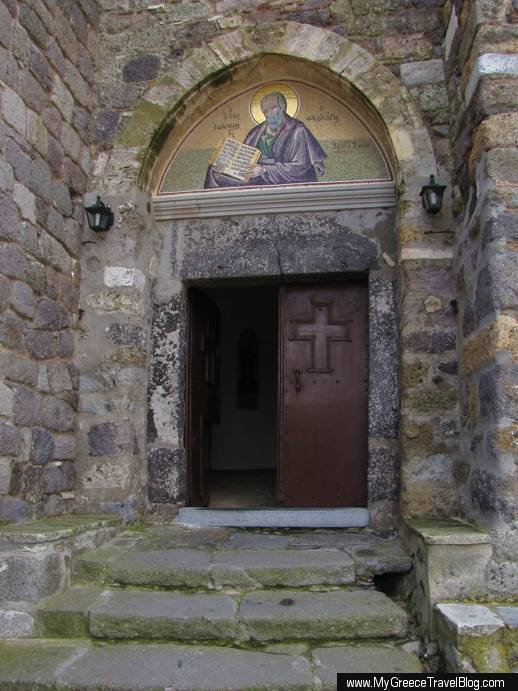 the entrance to the Monastery of St John on Patmos island