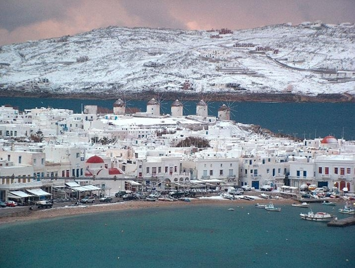 Mykonos after a snowfall