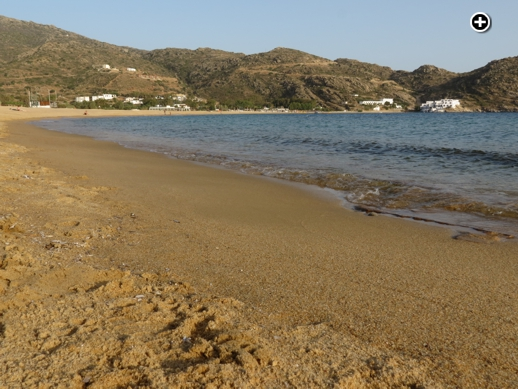 The golden sands of Mylopotas beach on Ios