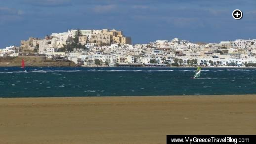 The medieval kastro (castle) dominates the skyline of Naxos Town