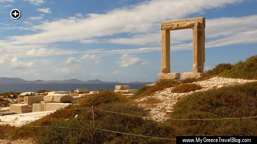 The centuries-old Portara monument greets visitors arriving at Naxos by sea