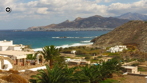 A view of St George's Bay and Naxos Town in the distance