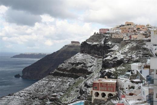 Winter snow on Santorini island Greece