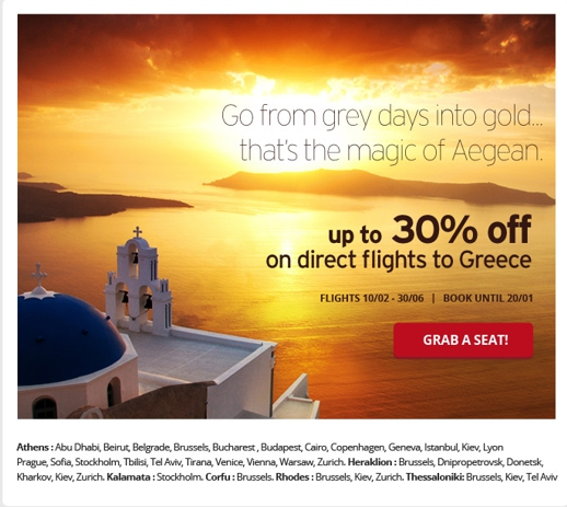 Aegean Airlines seat sale poster