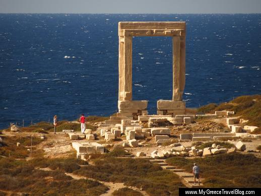 Despina's Rooms view of the Portara the Apollo Temple monument on Naxos