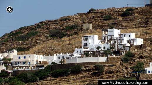 Telephoto view of Katerina Hotel from the far side of Mylopotas Bay on Ios