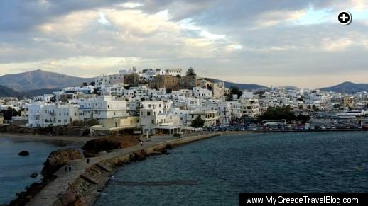 A view of Naxos Town from the Palatia peninsula on which the Portara monument is located