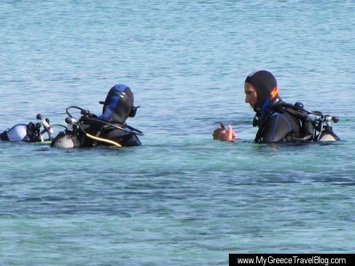 Scuba diving class at Agios Prokopios beach