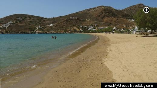Looking across the golden sand beach at Gialos, the port village on Ios island