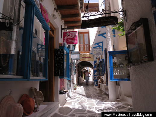 shops in the Naxos Old Town area