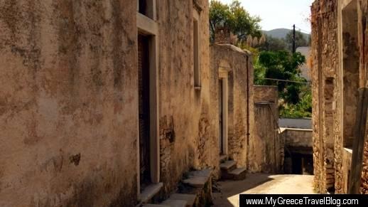 a streetin Chalki on Naxos