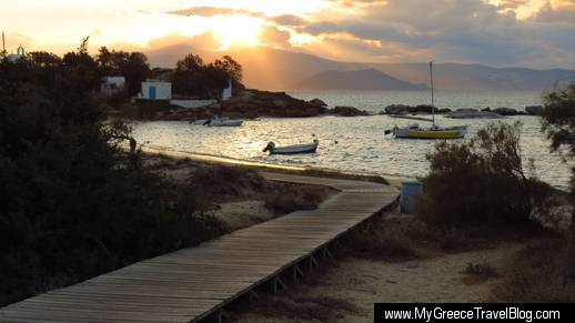 Agia Anna bay at sunset
