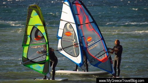 winsurfers on Naxos