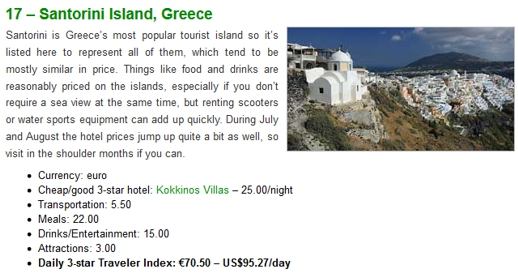 Europe 3-star hotel index listing for Santorini