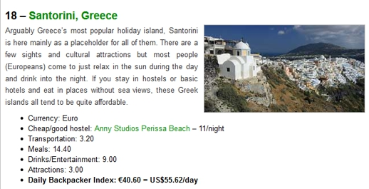 European Backpacker Index 2014 listing for Santorini