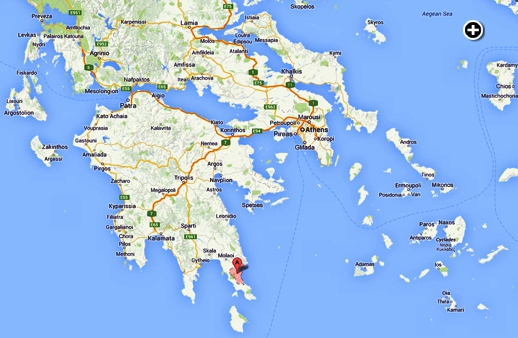 This Google map shows Monemvasia's location in the southeast Peloponnese of the Greece mainland