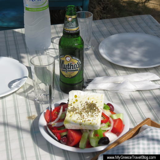 Greek salad and Mythos beer