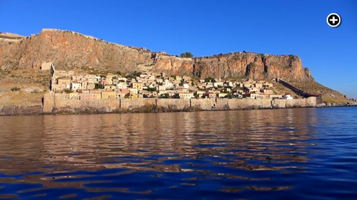 The medieval-era tower town of Monemvasia on the southeastern coast of the Peloponnese