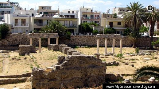 Houses overlook an historic archaeological site in the center of Kos Town on Kos island