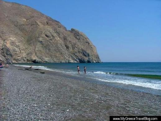 Perissa beach on Santorini