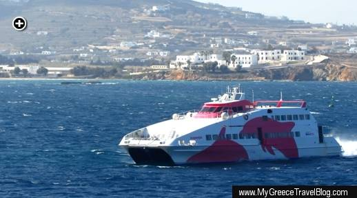 The Seajets SuperJet ferry approaches port at the town of Parikia on Paros