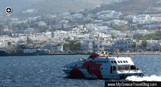 The Seajets SuperJet ferry approached the port at Parikia on Paros