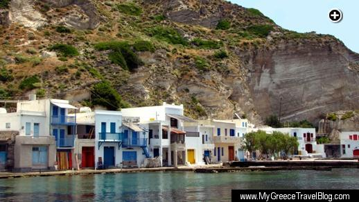 Some of the colourful boathouses that line the seashore at Klima village on Milos island