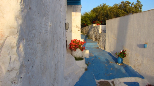 a blue lane on Milos
