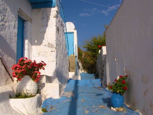 a blue lane on Milos island