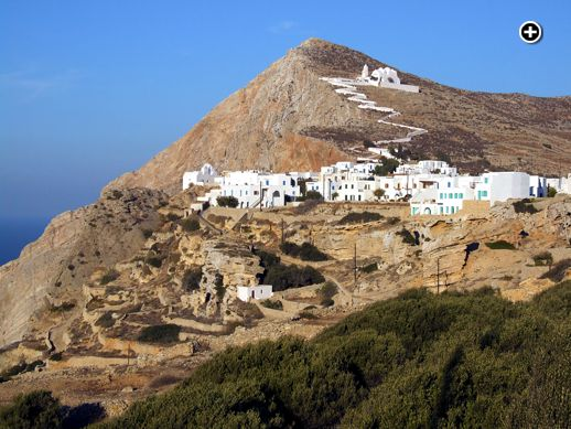 The Panaghia (Church of Our Lady) is perched high above Chora village on Folegandros