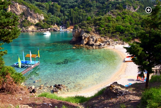 Paleokastritsa beach on Corfu as photographed by Flickr member Marite2007