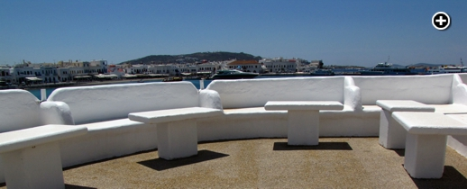 An outdoor harbour-view terrace at the old Remezzo Mykonos nightclub, which is being relaunched as a restaurant in 2014