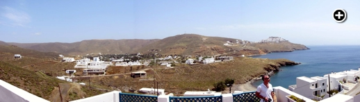 The Fildisi Boutique Hotel has a view of Astipalea's Livadi area (center) and Chora (top right)