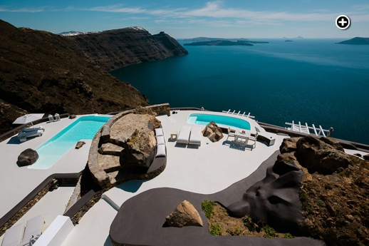 Aenaon Villas swimming pool views of the Santorini caldera